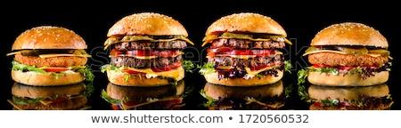 セット 黒 ハンバーガー クラシカル アメリカン ロール ストックフォト © mcherevan