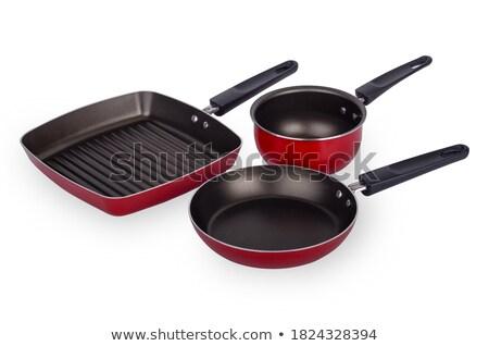 Set of three frying pans, red Stock photo © michaklootwijk