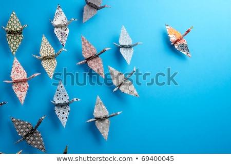vibrante · colores · origami · cisne · uno · vector - foto stock © cienpies