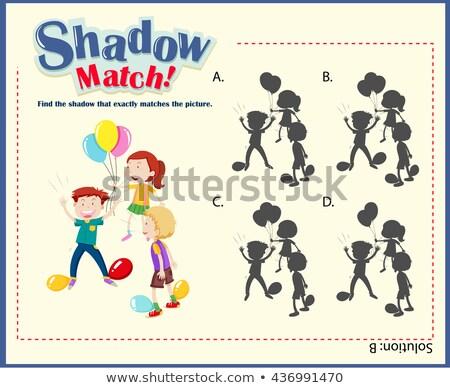 Játék sablon árnyék összeillő fiú illusztráció Stock fotó © bluering