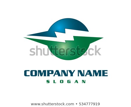 green and blue glossy lightning bolt logo icon stock photo © cidepix