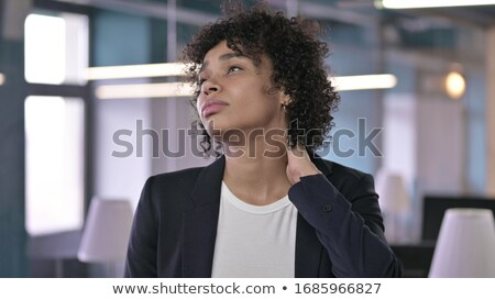 ストックフォト: 肖像 · 小さな · 疲れ · ビジネスマン · 首の痛み · 孤立した