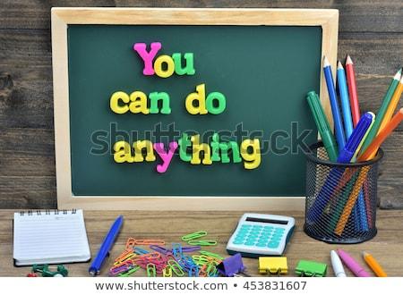 Lata texto escolas conselho giz escritório Foto stock © fuzzbones0
