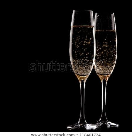 champagne · bril · witte · kaart · goud · schitteren - stockfoto © karandaev