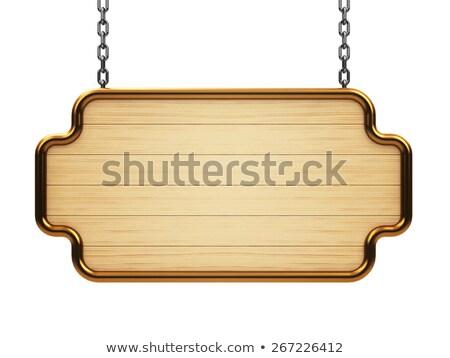 wooden rectangle signboard on chain stock photo © oakozhan