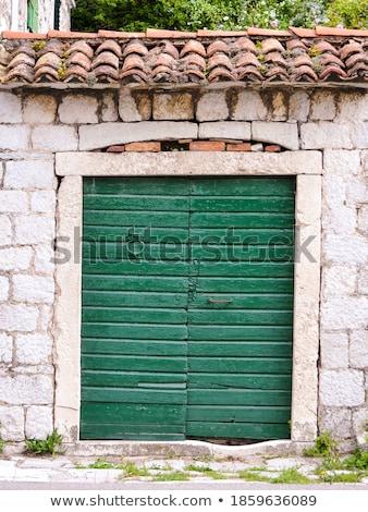 Blauw · deur · lava · steen · metselwerk · muur - stockfoto © simply