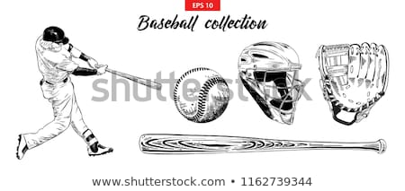 baseball bat and ball sketch icon stock photo © rastudio