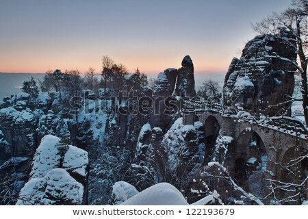 elbe sandstone mountains in winter stock photo © lianem