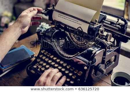Munkaterület klasszikus írógép jelenet keret kávé Stock fotó © neirfy