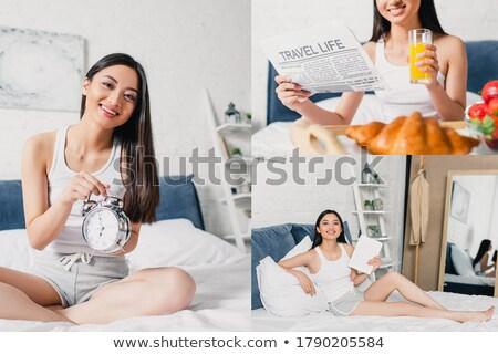 小さな · アジア · 目覚まし時計 · 白いドレス - ストックフォト © rastudio