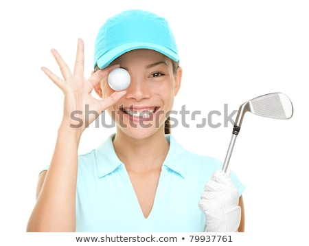 white golf balls with funny cap on the white background stock photo © capturelight