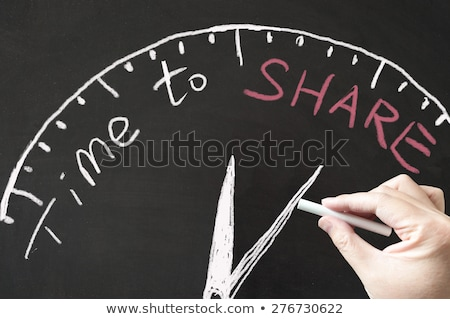 Stok fotoğraf: Hand Drawn Time To Share Concept On Chalkboard