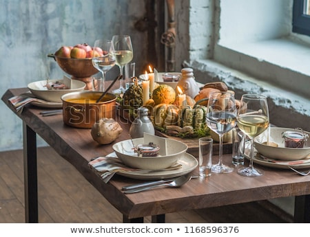 ősz · asztal · öreg · fa · asztal · hálaadás · kártya - stock fotó © Lana_M