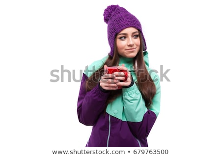 young woman in purple ski outfit hold snowboard Stock photo © Traimak