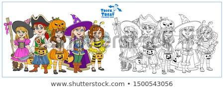 Kid Boy Halloween Pumpkin Coloring Page Stock photo © lenm