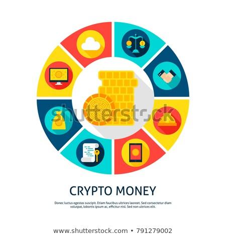 Bitcoin dollar cirkel icon stijl Stockfoto © Anna_leni