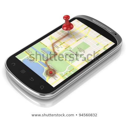 Smart phone navigation, mobile global positioning system and tracking concept. Man standing on big s Stock photo © makyzz
