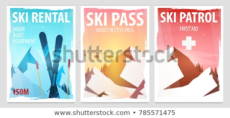 Set of Winter Sport posters. Ski Rental, Patrol, Pass. Mountain landscape. Snowboarder in motion. Ve stock photo © Leo_Edition
