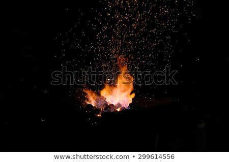 Stock photo: Embers and Flame of a smith's forge