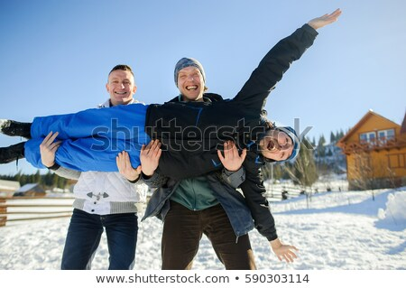 Three friends in the snow Stock photo © IS2