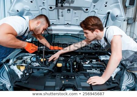 iki · araba · mekanik · tamir · mekanik · kadın - stok fotoğraf © monkey_business