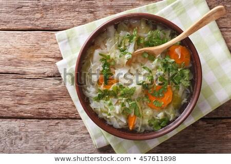 Tigela repolho sopa comida madeira fresco Foto stock © M-studio