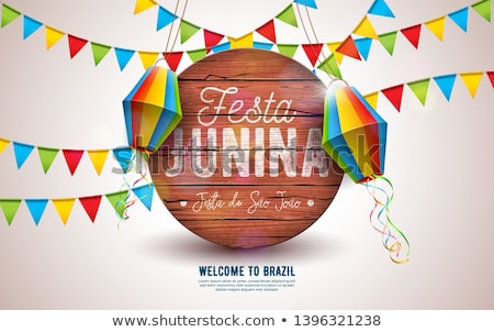 Festa Junina Illustration with Party Flags and Paper Lantern on Blue Background. Vector Brazil June  Stock photo © articular