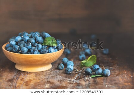 Stock photo: Autumn harvest blue sloe berries on a wooden table background. C