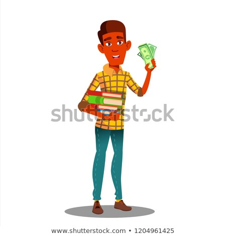 Student Holding Pile Of Books In One Hand And Stack Of Money In The Other Vector. Isolated Illustrat Stock photo © pikepicture