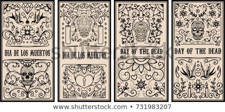 Día muertos azúcar cráneo tipografía banner Foto stock © cienpies
