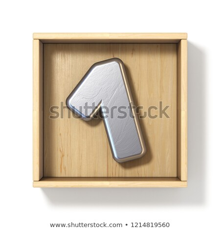 Silver metal number 1 ONE in wooden box 3D Stock photo © djmilic