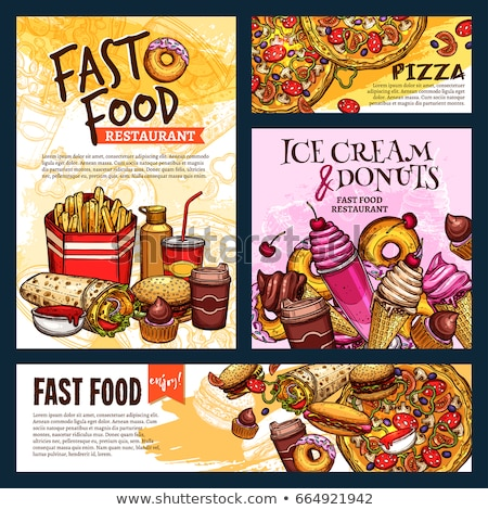 Stockfoto: Takeaway Fast Food Posters Set Ice Cream Hot Dog