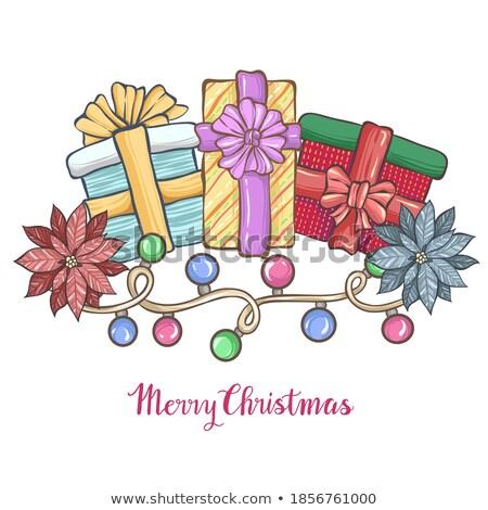 Рождества вечеринка Flyer иллюстрация фары гирлянда Сток-фото © articular