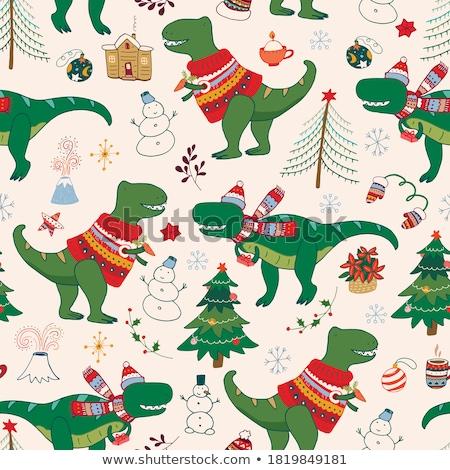 christmas seamless pattern with tree stock photo © voysla