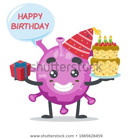 Malati cartoon torta di compleanno illustrazione guardando torta Foto d'archivio © cthoman