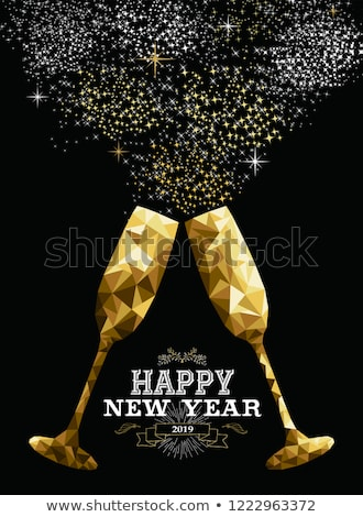 happy new year 2019 champagne bottle low poly gold stock photo © cienpies