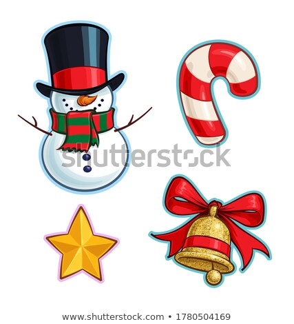 Christmas Cartoon Icon - Golden Glitter Bell Stock photo © nazlisart