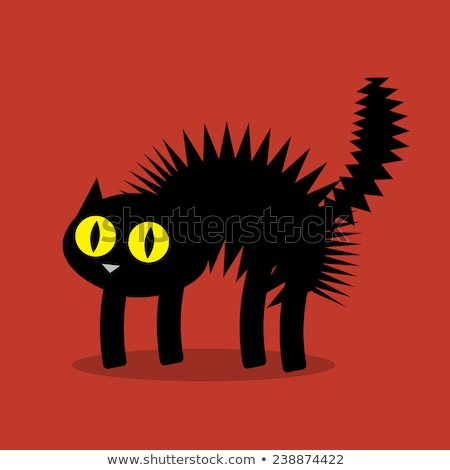 Meglepődött rajz fekete macska boszorkány illusztráció néz Stock fotó © cthoman