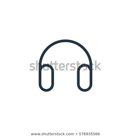 Minimalist doğrusal kulaklık ikon yalıtılmış modern Stok fotoğraf © kyryloff