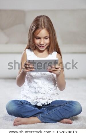 детей сидят иллюстрация небе счастливым Сток-фото © bluering