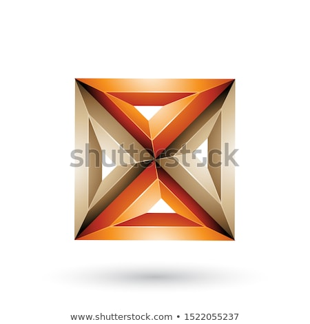 Beige and Orange 3d Geometrical Embossed Triangles and Square Sh Stock photo © cidepix