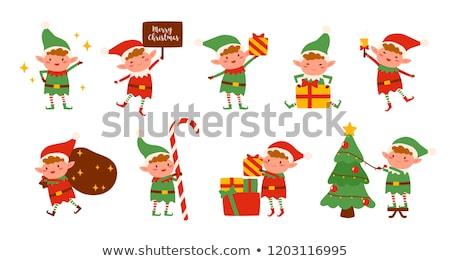 Karácsony manó ajándékok illusztráció háttér tél Stock fotó © colematt