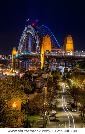 Para baixo estrada Sydney porto ponte noite Foto stock © lovleah