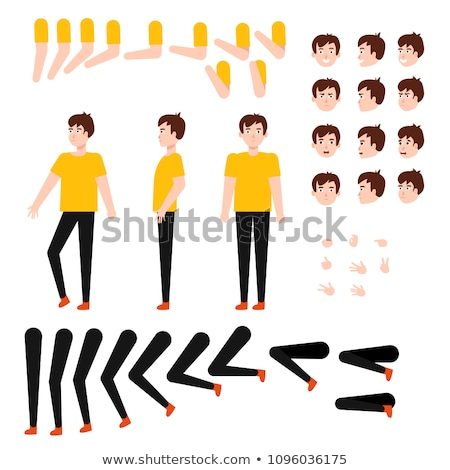 Boy Kindergarten Kid Vector. Animation Set. Emotions, Gestures. Hospital, Doctor, Disease, Sight, Fr Stock photo © pikepicture