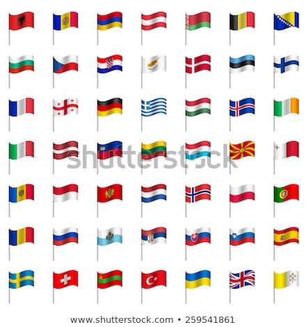 Stockfoto: Twee · vlaggen · Noorwegen · geïsoleerd · witte
