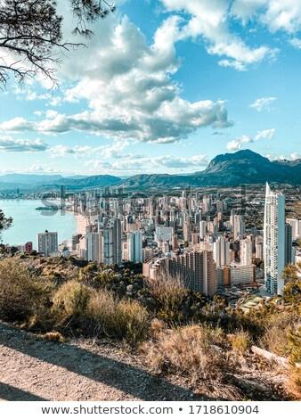 Sziluett déli Spanyolország tájkép kék utazás Stock fotó © LianeM