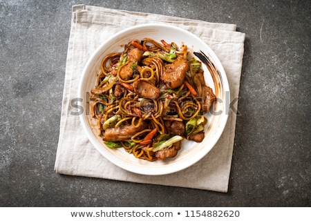 stir fry soba with meat and vegetables stock photo © furmanphoto