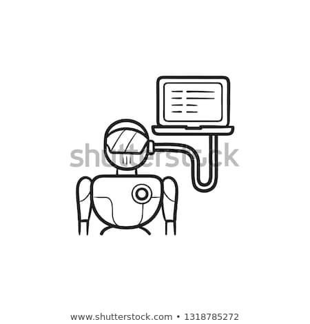 ロボット · ノートパソコン · 手描き · いたずら書き · アイコン - ストックフォト © RAStudio