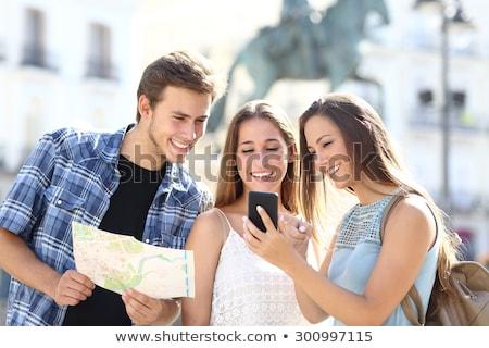 Paper background with three happy girls Stock photo © colematt