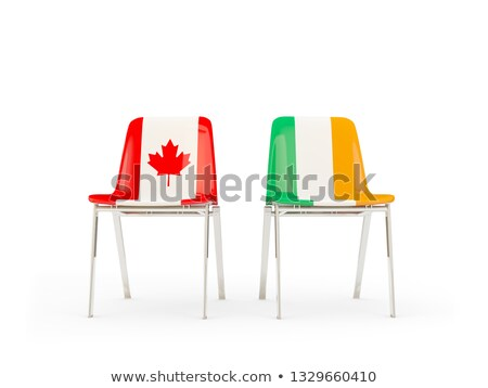 two chairs with flags of canada and ireland stock photo © mikhailmishchenko